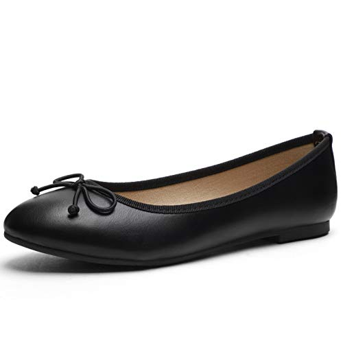 CINAK Women Ballet Flats- Casual Slip-on Comfort Walking Round Toe Loafers Shoes Black