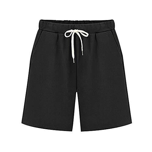 - Raroauf Ladies Knee Length Elastic Waist Soft Knit Jersey Bermuda Shorts with Drawstring Black Tag 4XL-US 16