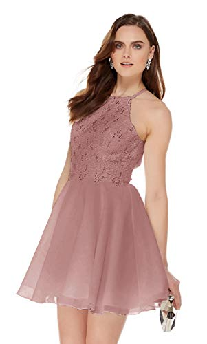 Women's Halter Spaghetti Strap Beaded Chiffon Prom Dresses Lace Short Prom Ball Gown Dusty Rose Size 12
