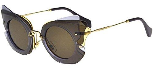Miu Miu Women's 0MU 02SS Lilac/Yellow/Brown Sunglasses by Miu Miu