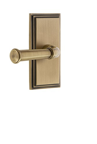 Grandeur 825362 Carre Plate Privacy with Georgetown Lever In Vintage Brass, Privacy - 2.375 from Grandeur