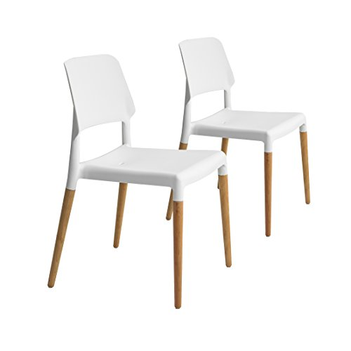 Buschman Set of Two White Eames Style Dining Mid Century Modern Design Chairs Review