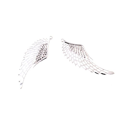 (Funnytoday365 10Pcs Silver Plated Filigree Wing Wraps Connectors Metal Crafts Decoration DIY Findings Connectors 2 4X7Cm)