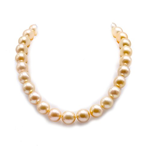 JYX Pearl 18K Gold South Sea Golden Pearl Necklace AAAAA Round Pearls Jewelry for Women 14-16mm 18.5″