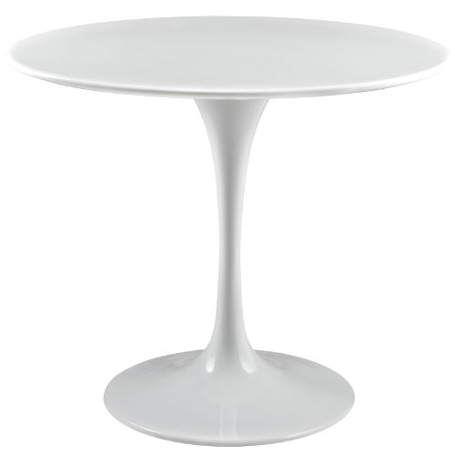"Modway Lippa Mid-Century Modern 36"" Round Dining Table in White"