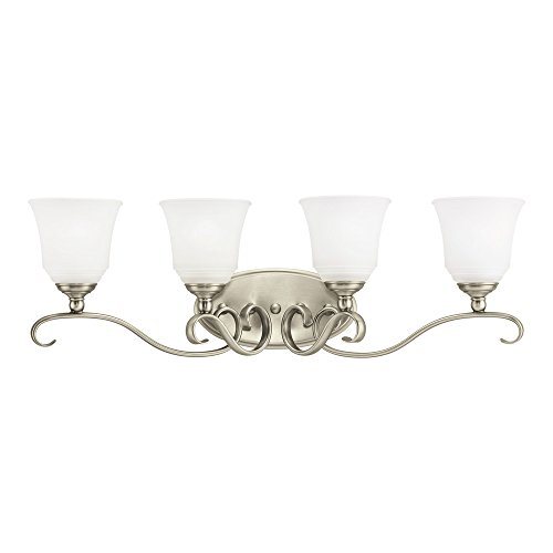 Sea Gull Lighting 44382-965 Parkview Four-Light Bath or Wall Light Fixture with Satin Etched Glass Shades, Antique Brushed Nickel Finish
