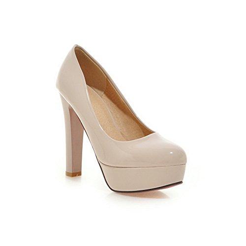 BalaMasa donna Solid slip-on high-heels gomma pumps-shoes, Beige (Beige), 35