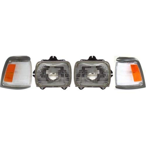 Headlight Kit Compatible with Toyota Pickup 1992-1995 Set of 4 Right Side and Left Side With Headlight and Corner Light 2WD Base Model