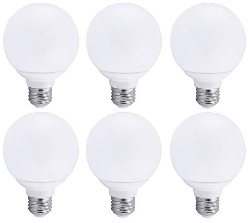 6 Pack Bioluz Dimmable Globe LED G25 40 Watt Replacement (Uses 6 Watts) Warm White (2700K) LED Light Bulb, 450 Lumens UL Listed (Pack of 6)
