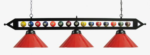 59'' Black Metal Ball Design Pool Table Light Billiard Lamp Choose Black, Red, Green Metal Shades or White Glass (Red Metal Shades) by Iszy Billiards