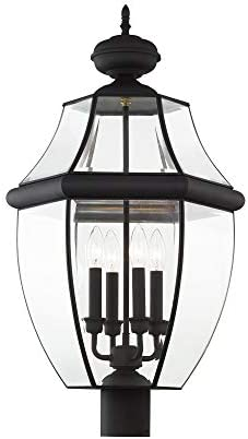 Livex Lighting 2358-04 Outdoor Post with Clear Beveled Glass Shades, Black