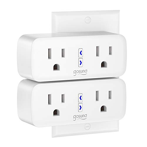 Gosund Wifi Smart Plug Outlet Dual Extender Mini Work with Alexa, Google Home, IFTTT, with Control Independently or Together, 10A, No Hub Required, FCC Listed (2 Pack)