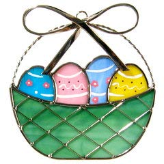 JGS Easter Basket Suncatcher in Real Stained Glass ()