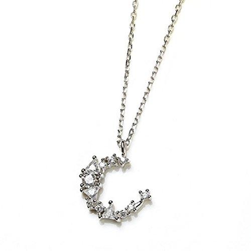 KAVANI Crescent Moon Necklace Sterling Silver S925 Plain Half Moon Pendant Necklaces for Women