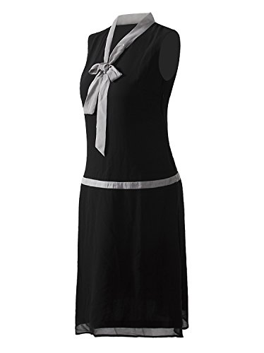 Vijiv Women Vintage 1920s V Neck Bowknot Roaring 20s Flapper Party Great Gatsby Dress,Medium,Black
