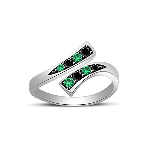 (CGJ Girl's Bypass Toe Ring 14k White Gold Finish 0.10ct Emerald Green & Black Sim Diamond)