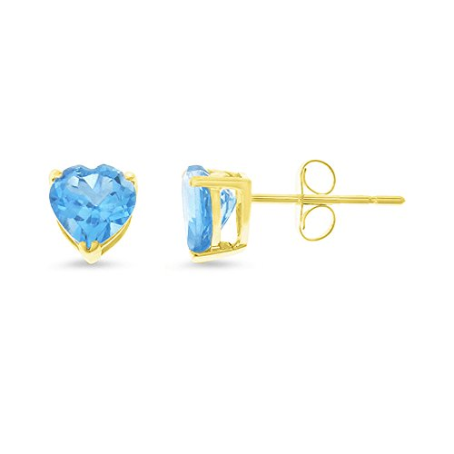 1.92CTW 14K Yellow Gold Genuine Natural Blue Topaz Heart Shaped 6 mm. Solitaire Stud Earrings