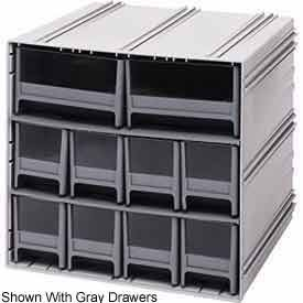Quantum QIC-4163IV Interlocking Gray Storage Cabinet with 10 Ivory Drawers 11.38-Inch by 11-3//4-Inch by 11-Inch