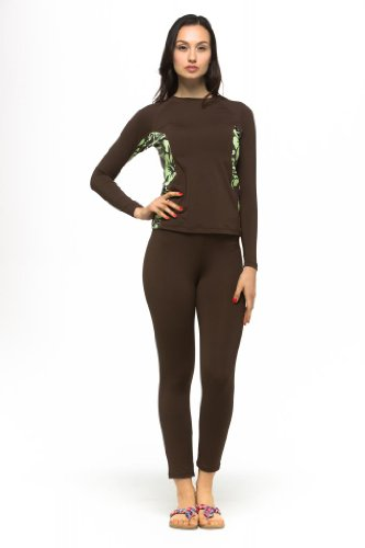 HS TRADING INC Private Island Hawaii UV Women Wetsuits Long Sleeve Rash Guard Top Brown with Green X-Large price tips cheap