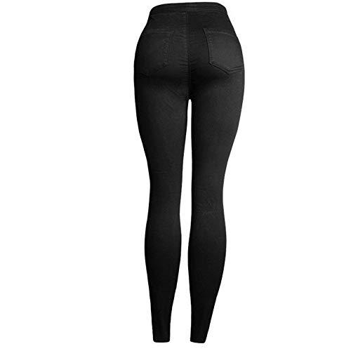 Color : Black, Size : M MTOFAGF All Season Women Big Hip Elastic Broken Hole Embroidered Slim High Waist Jeans Pencil Pants MTOFAGF Brings You The Best