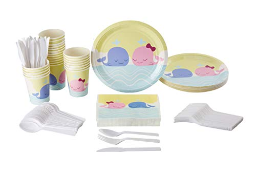 Disposable Dinnerware Set - Serves 24 - Cute Whale Animal Themed Party Supplies for Kids Birthdays, Baby Showers, Gender Reveal, Includes Plastic Knives, Spoons, Forks, Paper Plates, Napkins, -