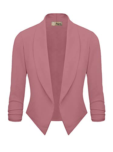 (Womens Casual Work Office Open Front Blazer JK1133 Rose XL)