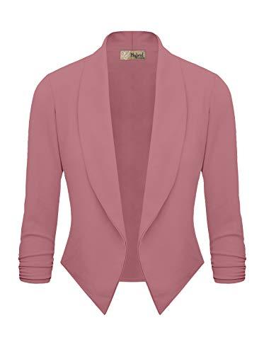 Womens Casual Work Office Open Front Blazer JK1133 Rose XL