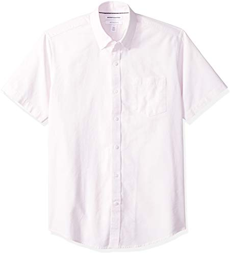 Amazon Essentials Men's Regular-Fit Short-Sleeve Pocket Oxford Shirt, Pink, Large