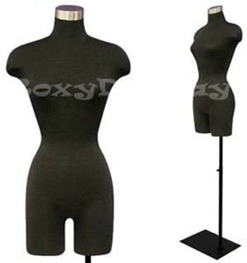 Display Female Body Form black jersey form with flexible arms /& metal base JF-F02Sarm+BS-05