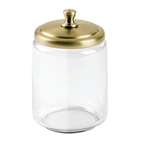 InterDesign York Bathroom Vanity Glass Apothecary Jar for Cotton Balls, Swabs, Cosmetic Pads - Large, Clear/Soft Brass