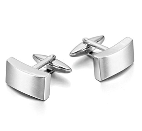 (Aooaz Jewelry Silver Plated Cufflinks for Men Rectangle Cuff Links Smooth Surface Dome Cufflinks Wedding Business)