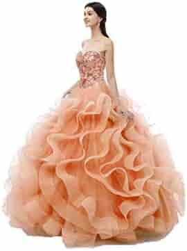 947d534ed2 WanFuBridal Women s Sweetheart Crystal Ruffles Ball Gown Long Sweet 16  Quinceanera Dress