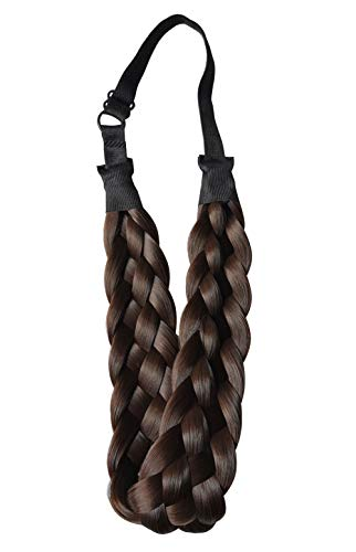 Coolcos Elastic Synthetic Chunky Hair Braid 5 Strands Braids Hair Headbands Plaited Braided Headband 4A Dark Brown ()
