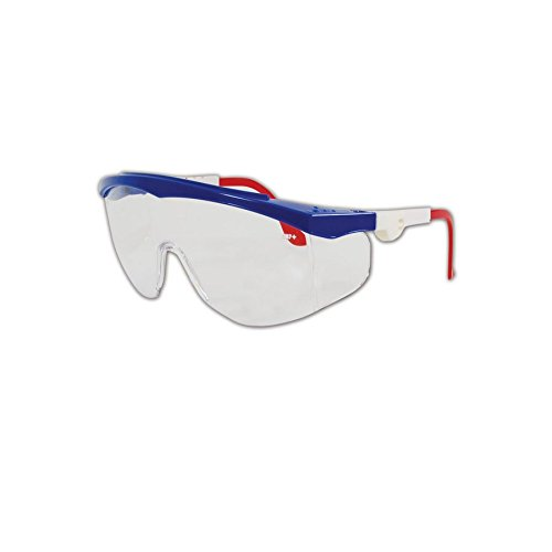 MCR Safety TK130 Tomahawk Safety Glasses with Clear Scratch-Resistant Lens and Colored Frame, Standard, Red/White/Blue -