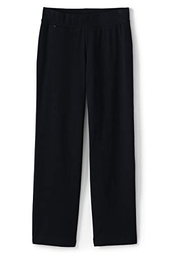 Lands' End Women's Plus Size Starfish Mid Rise Straight Leg Elastic Waist Pull On Pants 2X Black from Lands' End