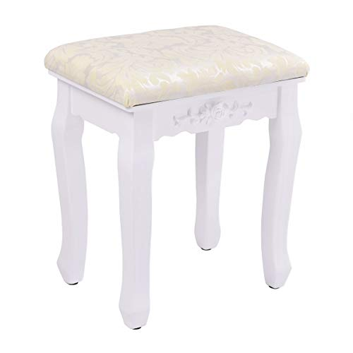 (Casart Vanity Stool Makeup Bench Dressing Stools Retro Wave Foot Floor Pad for Scratch Solid Pine Wood Legs Thick Padded Cushioned Chair Piano Seat Bathroom Bedroom Large Vanity Benches (White))