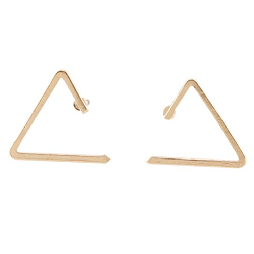 cheap QTALKIE Simple Fashion With Unique Design Womens Handcrafted Brushed Metal Hollow Triangle Stud Earrings supplies