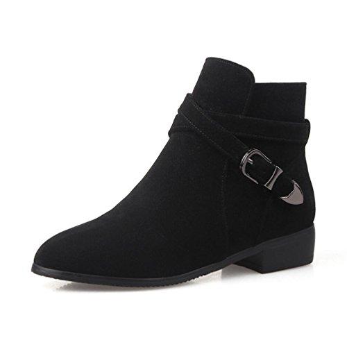Ei&iLI Chaussures talons plat PU cheville Bootie bout pointu bottes pour dames tenue décontractés , black , 35