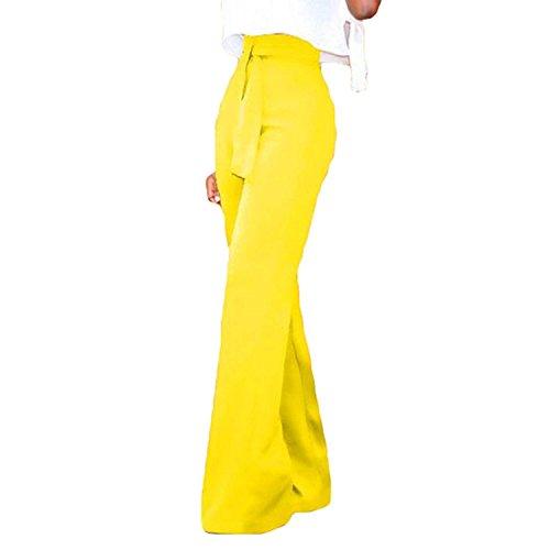 Accogliente Eleganti Anteriori Dritti Gelb Monocromo Pantaloni Pantaloni Cravatta Pantaloni marca Primaverile Pantaloni Alta Cintura Baggy Lunga A Mode Tasche di Moda Larghi Farfalla Vita Inclusa pqERwx18
