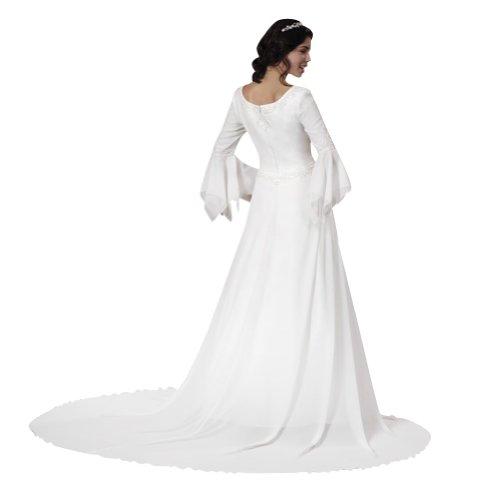 aermel Chiffon Einfache Weiß langen GEORGE Satin BRIDE Brautkleider Hochzeitskleider wIxCt