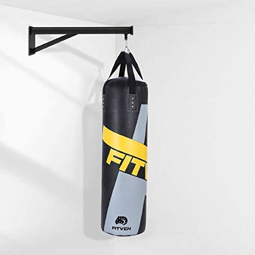 FITVEN Punching Bag with Wall Bracket for Man Women Kids, Indoor/Garden Boxing Bag, Heavy Bag for MMA Kickboxing - 50LB