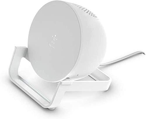 Belkin soporte de carga inalámbrica BoostCharge de 10 W + altavoz Bluetooth (cargador inalámbrico rápido y altavoz para iPhone y otros teléfonos de Samsung y Google, micrófono integrado, blanco)