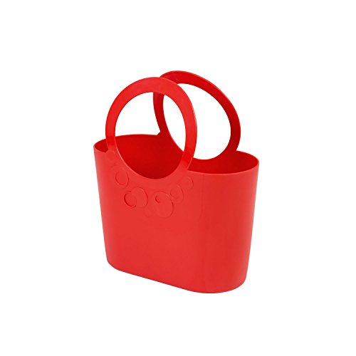 Borsa spiaggia cestino flessibile multiuso Lily 24 x 12 x 28 cm colore: rosso corallo