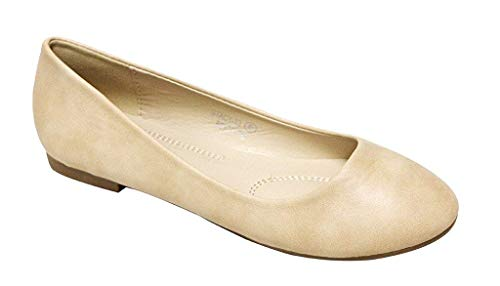 Bella Marie Stacy-13 Women's Round Toe Suede Leather Slip on Boat Ballet Flat Shoes Beige PU 8