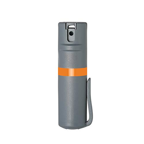 POM Grey Pepper Spray Pocket Clip Model - Maximum Strength Self Defense OC Spray Safety Flip Top 10ft Range Running and Outdoors (Orange)