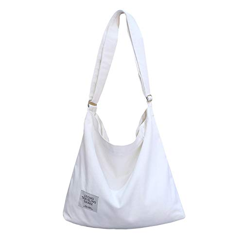 Women Canvas Top-Handle Shoulder Bags, Large Capacity, Totes Casual Simple Lightweight Handbag, Shopping Bag, White ()