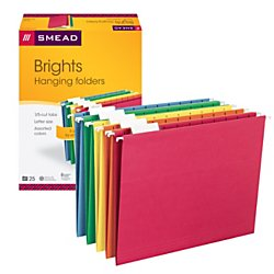 older with Tab, 1/5-Cut Adjustable Tab, Letter Size, Assorted Primary Colors, 25 Per Box (64059) (Company File Folders)