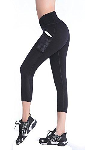 EAST HONG Womens Mesh Capri Workout Yoga Pants Running Tights Active Leggings (XL, Black)