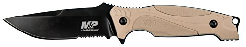 Smith & Wesson M&P M2.0 9in S.S. Full Tang Thin Fixed Blade Knife with 4in Drop Point Blade and Rubber FDE Handle for Outdoor, Tactical, Survival and EDC