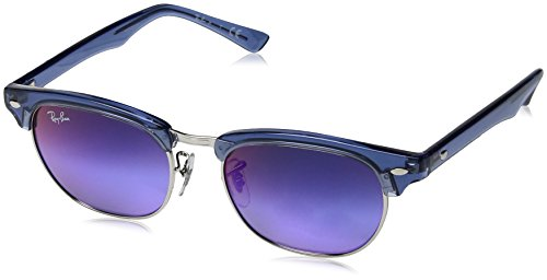 Ray-Ban Kids' 0rj9050s7037b147junior Clubmaster Non-Polarized Iridium Square Sunglasses, TRASPARENT BLUE, 47 mm (New Wayfarer Junior)